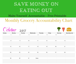 Save Money Monthly Chart Monthly Grocery Accountability Chart Free Printable