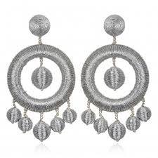 metallic chandelier hoop earrings