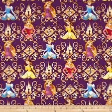 Disney Princess Keys Princess Scroll Purple Cotton Quilting Fabric ... &  Adamdwight.com