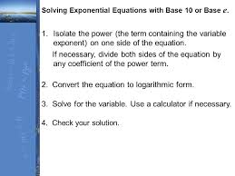 convert the equation to logarithmic form