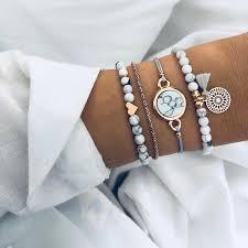 Crazy Feng 2018 <b>Bohemian Marble Stone</b> Beads Bracelet Set For ...