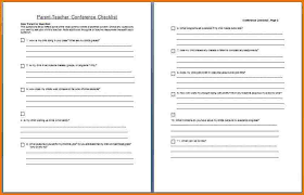 parent conference template parent teacher conference checklist authorization letter pdf