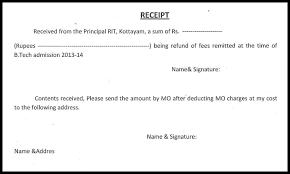fee receipt format