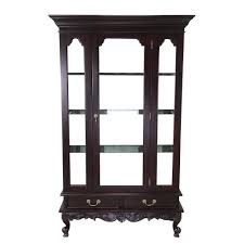 solid mahogany wood single door display cabinet with drawers