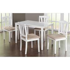 5 piece dining set kitchen table and upholstered chairs modern design wood white