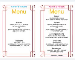 Wedding Template Microsoft Word Wedding Menu Template 5 Free Printable Menu Cards