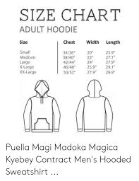 Size Chart Adult Hoodie Chest Width Length Size Small Medium