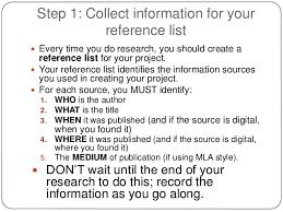 Mla List Reference Lists And Citations Mla Version