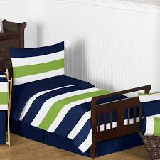 sweet jojo designs stripe 5 piece toddler bedding set in navy and lime green for appealing