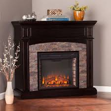w faux stone corner electric media fireplace in ebony