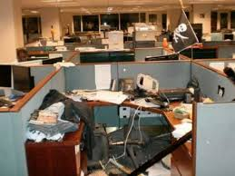 office cubical. csfb trashed cubicle office cubical y