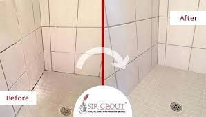 sealing grout in shower before and after picture of a grout cleaning service on a moldy sealing grout in shower