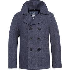 brandit classic vintage mens pea coat navy reefer