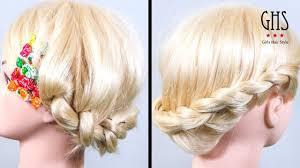 花かんむり風ねじり編み込みアップヘアアレンジ セミロング Hairstyle
