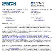 Press Release Nrmp Ecfmg Publish Charting Outcomes In The