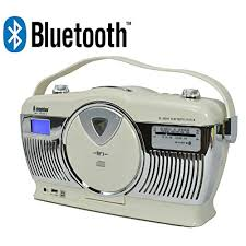 Steepletone Stirling Cream Retro Style Bluetooth Portable Music System with 3 Band FM MW LW Radio and CD Player: Amazon.co.uk