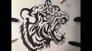 tiger drawing tattoo. Fine Tattoo How To Draw A Tiger Tattoo TATTOO ART REAL EASY ZArtwork In Drawing E