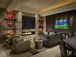 floating tv on a curved wall design ideas remodel 93 living room niche stone fireplace wall with
