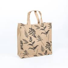 fern print lined jute bag