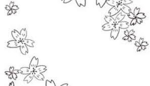 フリー素材モノトーンの桜のフレームシンプルな鉛筆画の桜の花いっぱい