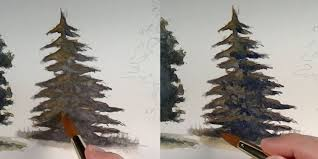 drawn fir tree watercolor 12