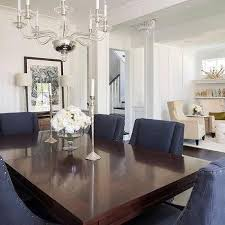 nailhead dining chairs dining room. Cherry Stained Dining Table With Blue Nailhead Wingback Chairs Room D
