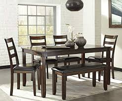 signature design by ashley d385 325 coviar dining table set brown