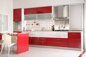 Red Kitchen Floor Sleek Kitchen Cabinets In Red Kitchen Design With White Floor