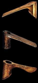 ancient adze. weapons from the royal tombs of ur. an electrum adze head, a copper and axe head. is natural alloy gold silve\u2026 ancient i