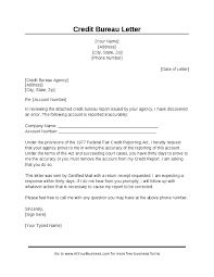 Credit Dispute Letter Templates Letters To Send To Credit Bureaus Under Fontanacountryinn Com