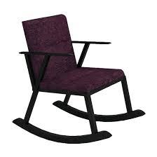 Purple Rocking Chair Wooden Rocking Chair Black Polish Purple Fabric