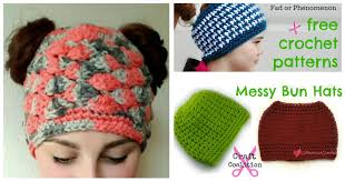 Free Crochet Pattern For Messy Bun Hat Custom Over 48 Free Messy Bun Hat Patterns