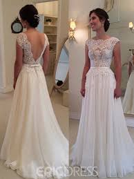 a line wedding dresses with straps. ericdress charming backless jewel lace a-line wedding dress a line dresses with straps