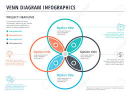 Infographic Venn Diagram Venn Diagram With 4 Circles Infographics Template Design Vector