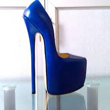 customized blue patent leather pump extreme high heel 22cm heel with platform women pump y high heels y pump single shoes show