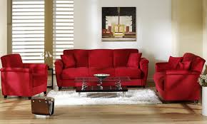image of simple red living room decor