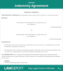 Indemnity Agreement Template HoldHarmless Agreement Template US LawDepot 1