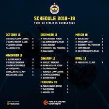 "Fenerbahçe Beko on Twitter: ""📅 @EuroLeague 2018-2019 Regular Season  Schedule!… """