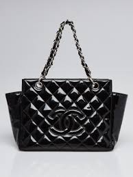 chanel black quilted patent leather petite timeless ping tote bag