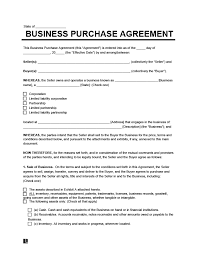 free business purchase agreement