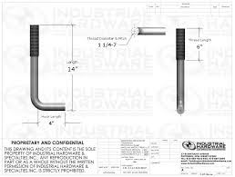 Fig 121 Plain L Shaped Anchor Bolt 1 1 4 7 In X 14 In Astm F1554 Grade 55