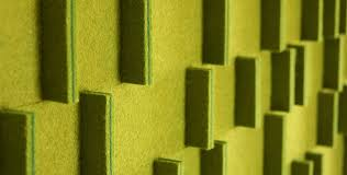 detail image of wall panel 068 t variant in two shades of green wool felt