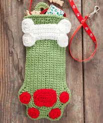 Crochet Stocking Pattern Adorable Dog Paws Christmas Stocking Red Heart