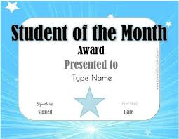 Student Of The Month Certificate Templates Teacher Of The Month Certificate Template