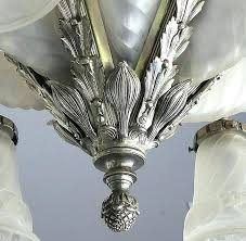 french art nickel bronze glass chandelier by in excellent condition for modern id f art glass chandelier