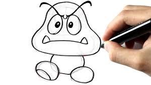 Comment Dessiner Un Goomba De Mario Youtube