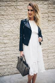 white lace dress with leather jacket