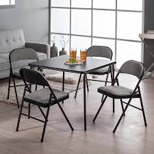 Meco Sudden Comfort Deluxe Double Padded Chair and Back 5-Piece Card Table Set - Courtyard Black Walmart.com