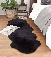 black sheepskin rug. Black Double Sheepskin Rug | 2 Joined Pelts · Larger Photo Email A Friend E