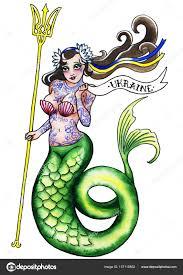 фото татуировка герб украины старая школа тату русалка с гербом